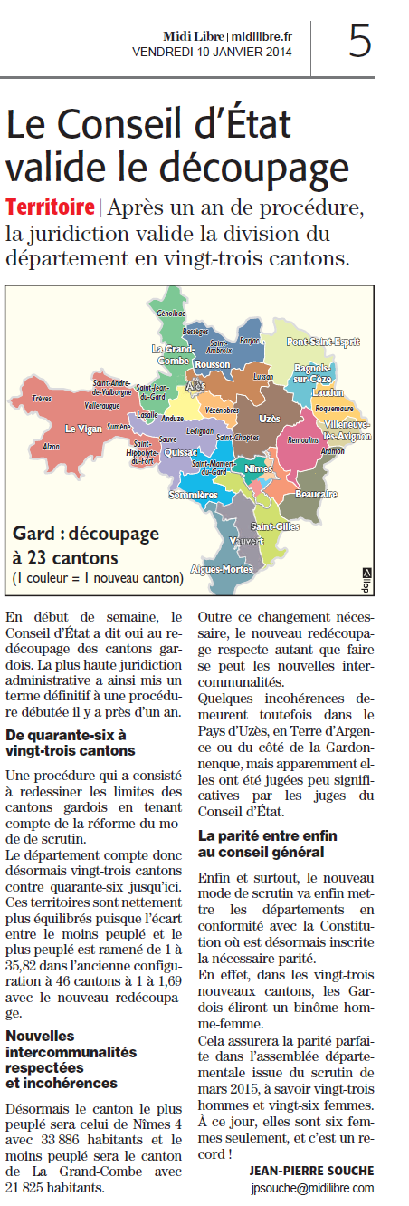 article ML redécoupage cantons du Gard