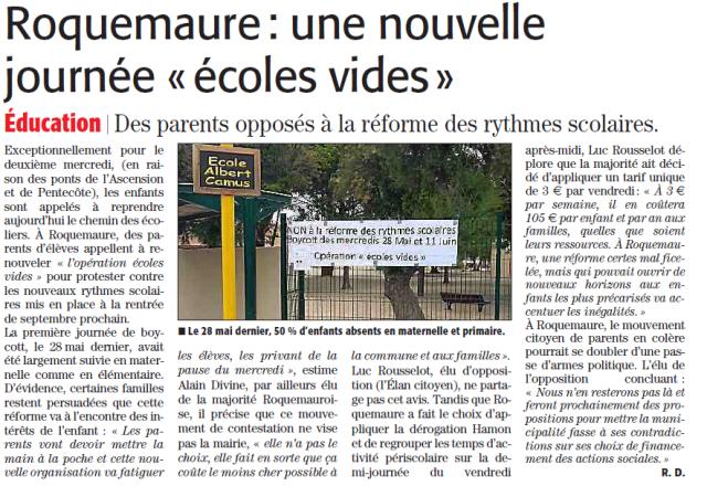 ML du 11.06.14 les rythmes scolaires à Roquemaure