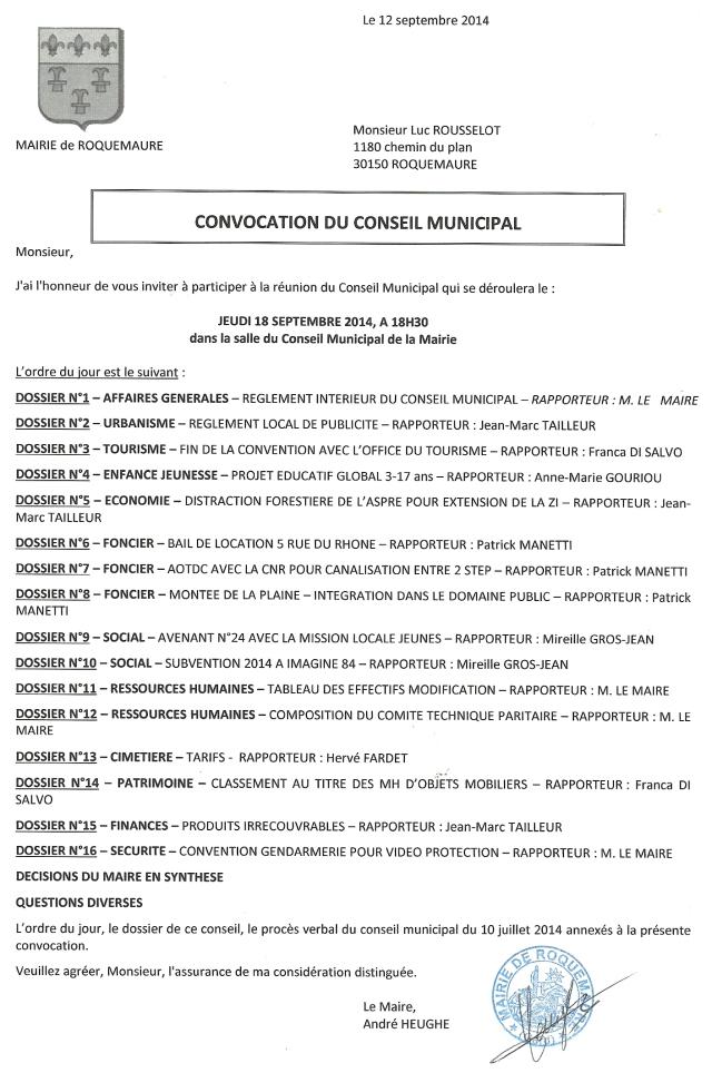 CM du 18.09.14 convocation et ODJ