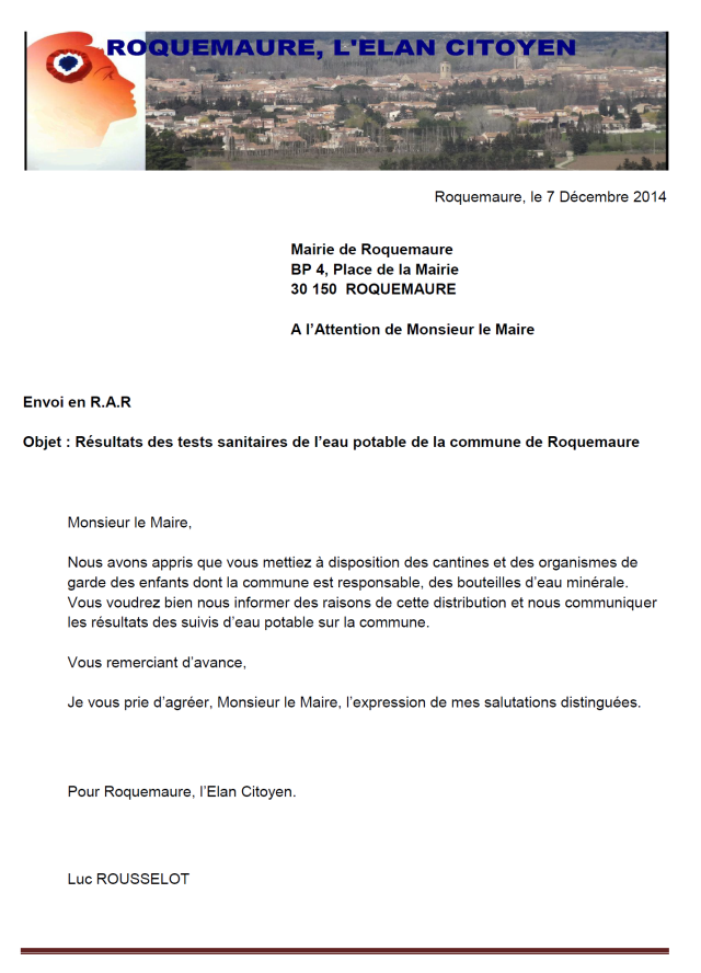 courrier RAR eau potable 07.12.14