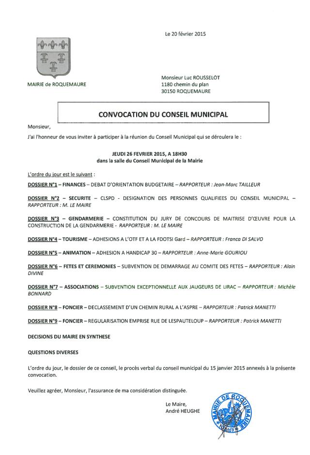 convocation conseil municipal du 26.02.15